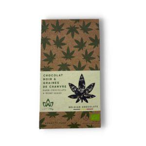 tablette de chocolat noir et graines de chanvre